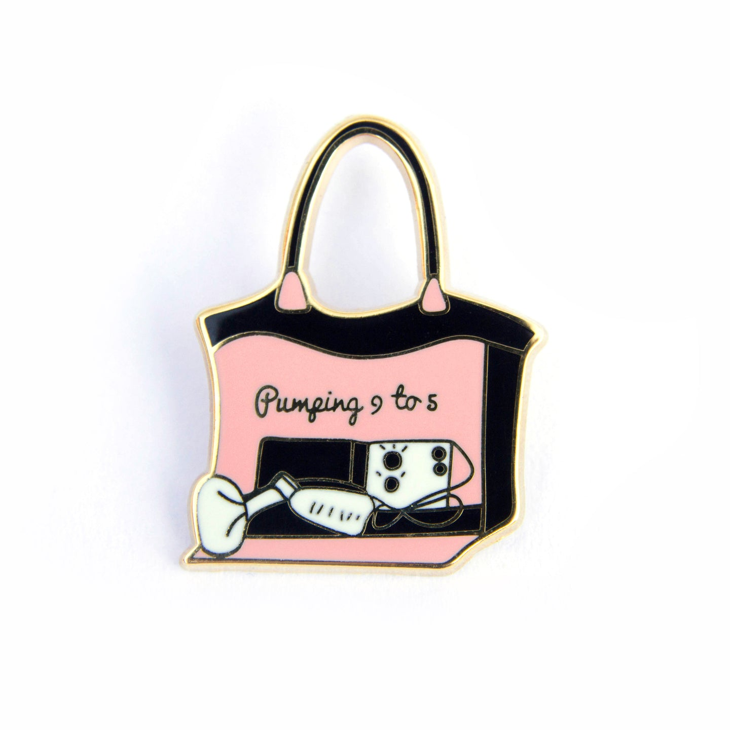 Pumping 9 to 5 Enamel Pin