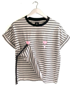 Double Striped Short Sleeve Nursing Top
