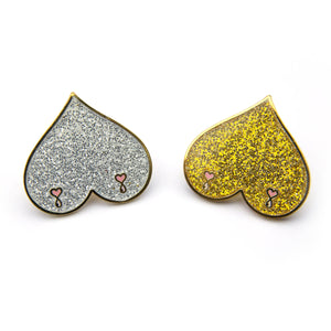 Silver Boobs Enamel Pin