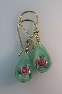 Pale Green Glass Flower TearDrop Earrings