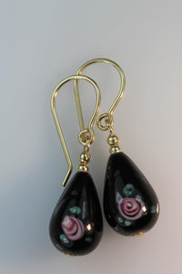 Black Glass Flower TearDrop Earrings