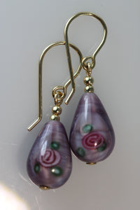 Amethyst Teardrop Flower Earrings