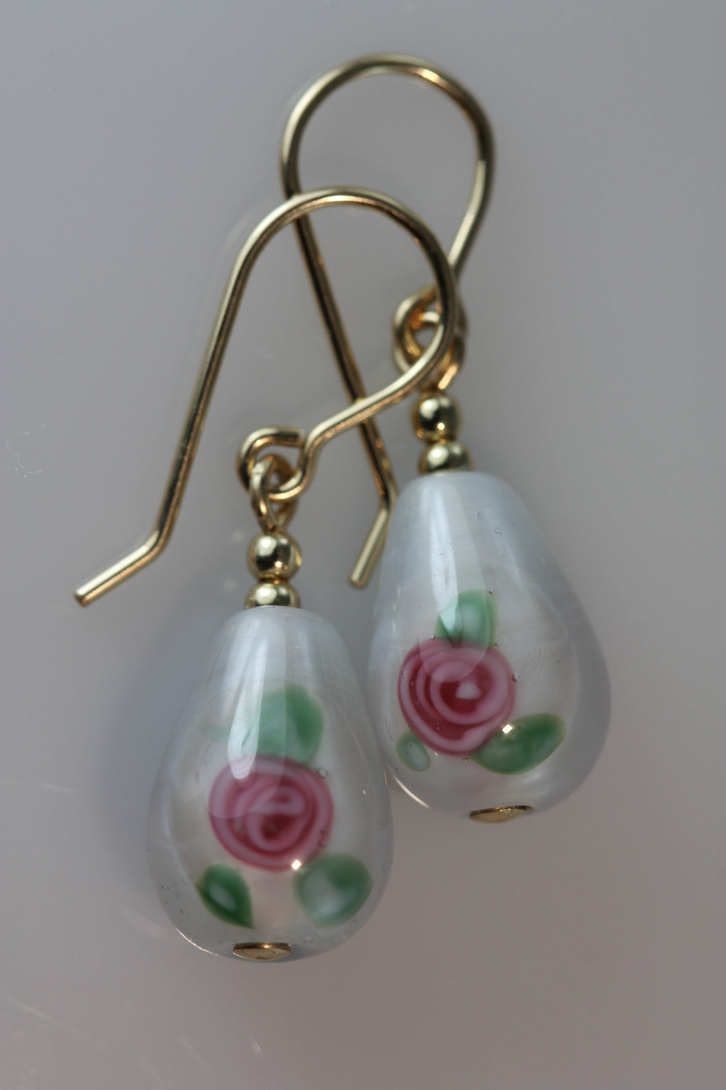 White Teardrop Flower Earrings