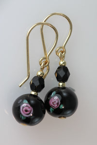 Black 8mm Round Glass Flower Earrings