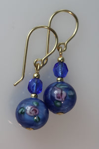 Dark Sapphire 8mm Round Glass Flower Earrings