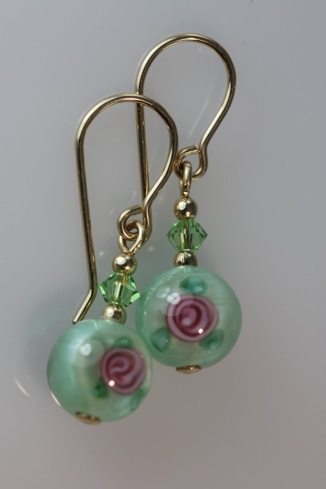 Pale Green 8mm Round Glass Foil Flower Earrings