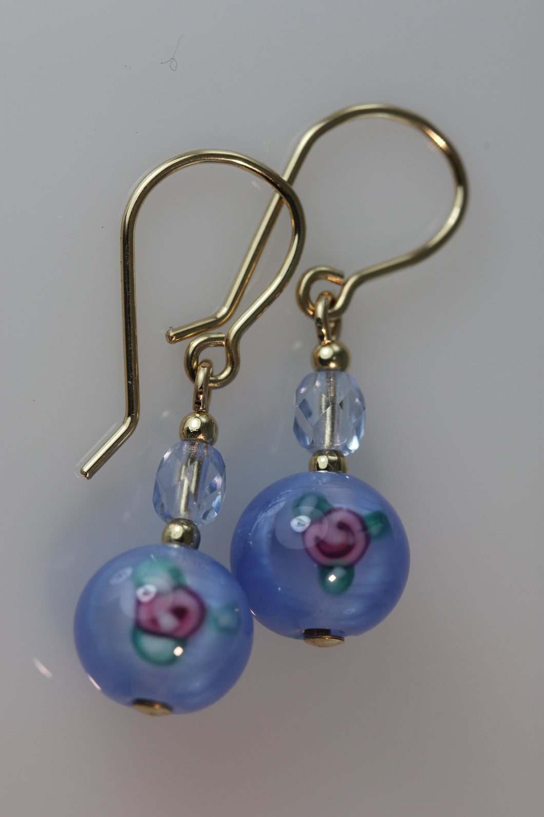 Pale Sapphire 8mm Round Glass Flower Earrings