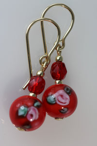 Red 8mm Round Glass Flower Earrings