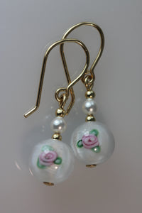 White 8mm Round Glass Flower Earrings