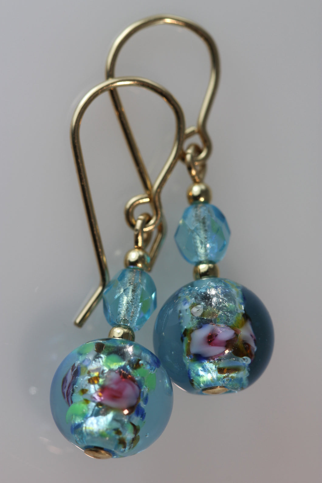 Aquamarine 8mm Round Glass Foil Earrings