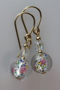 Clear 8mm Round Glass Foil Flower Earrings