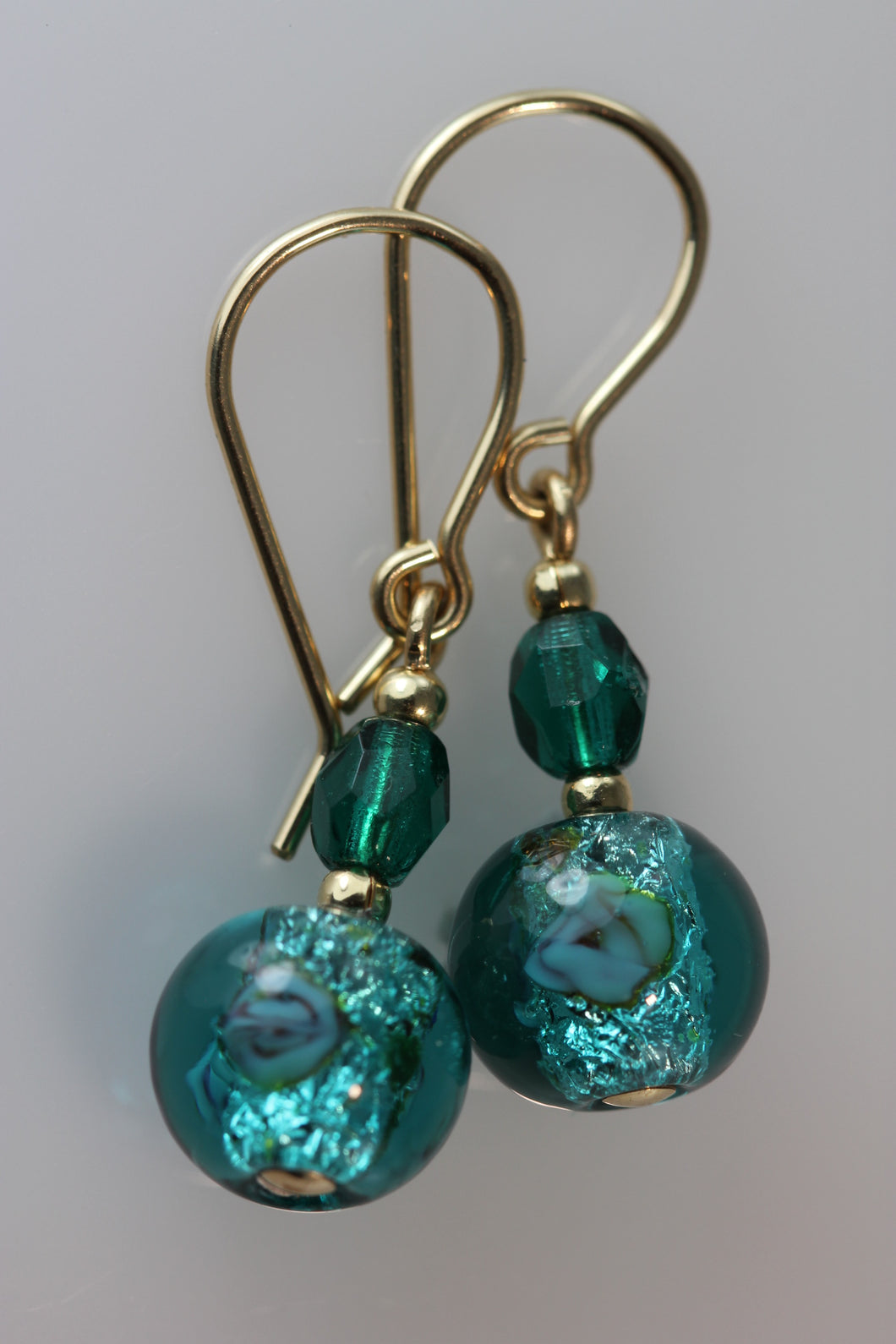 Emerald 8mm Round Glass Foil Flower Earrings