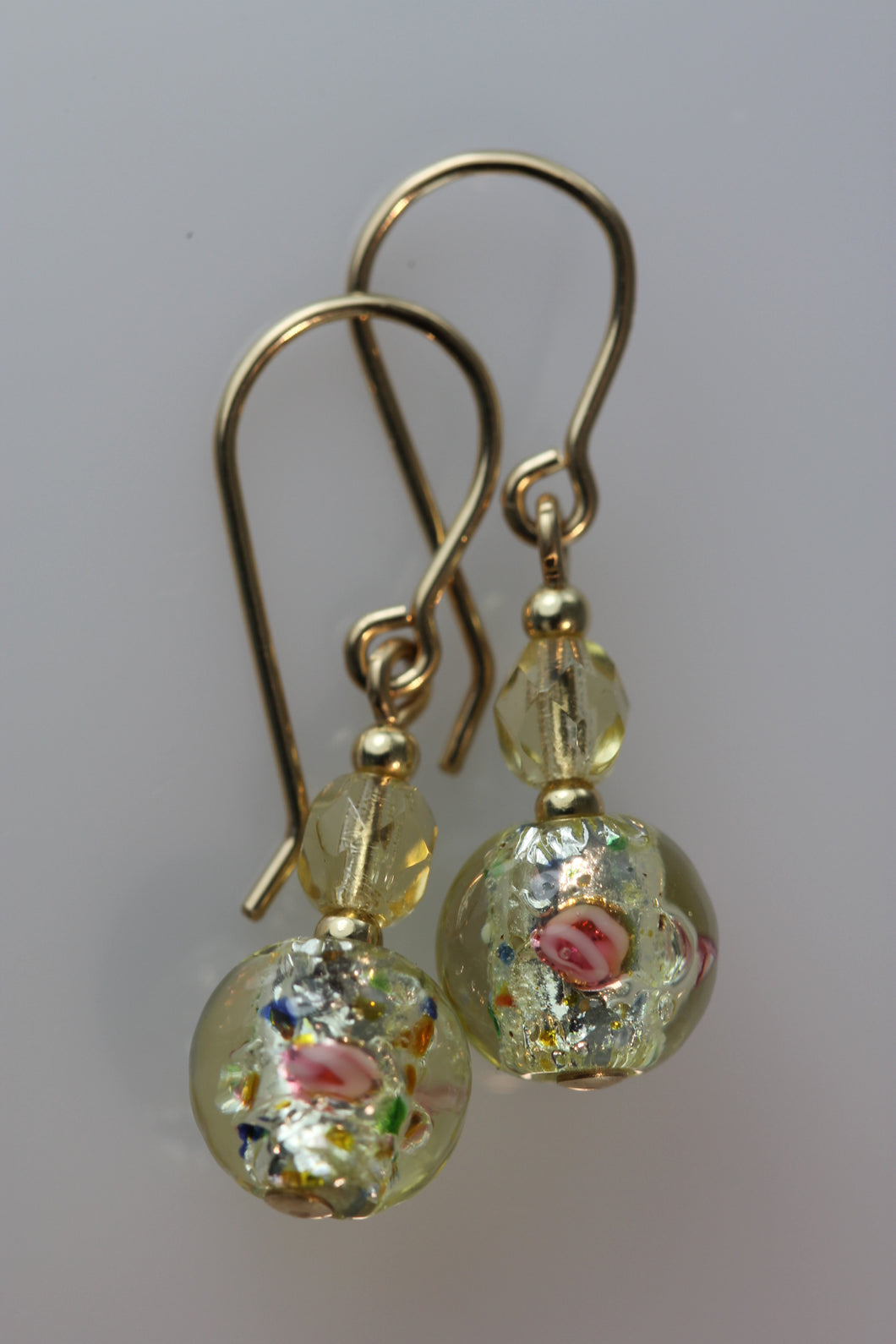Gold 8mm Round Glass Foil Flower Earrings