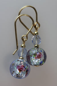 Pale Sapphire 8mm Round Glass Foil Flower Earrings