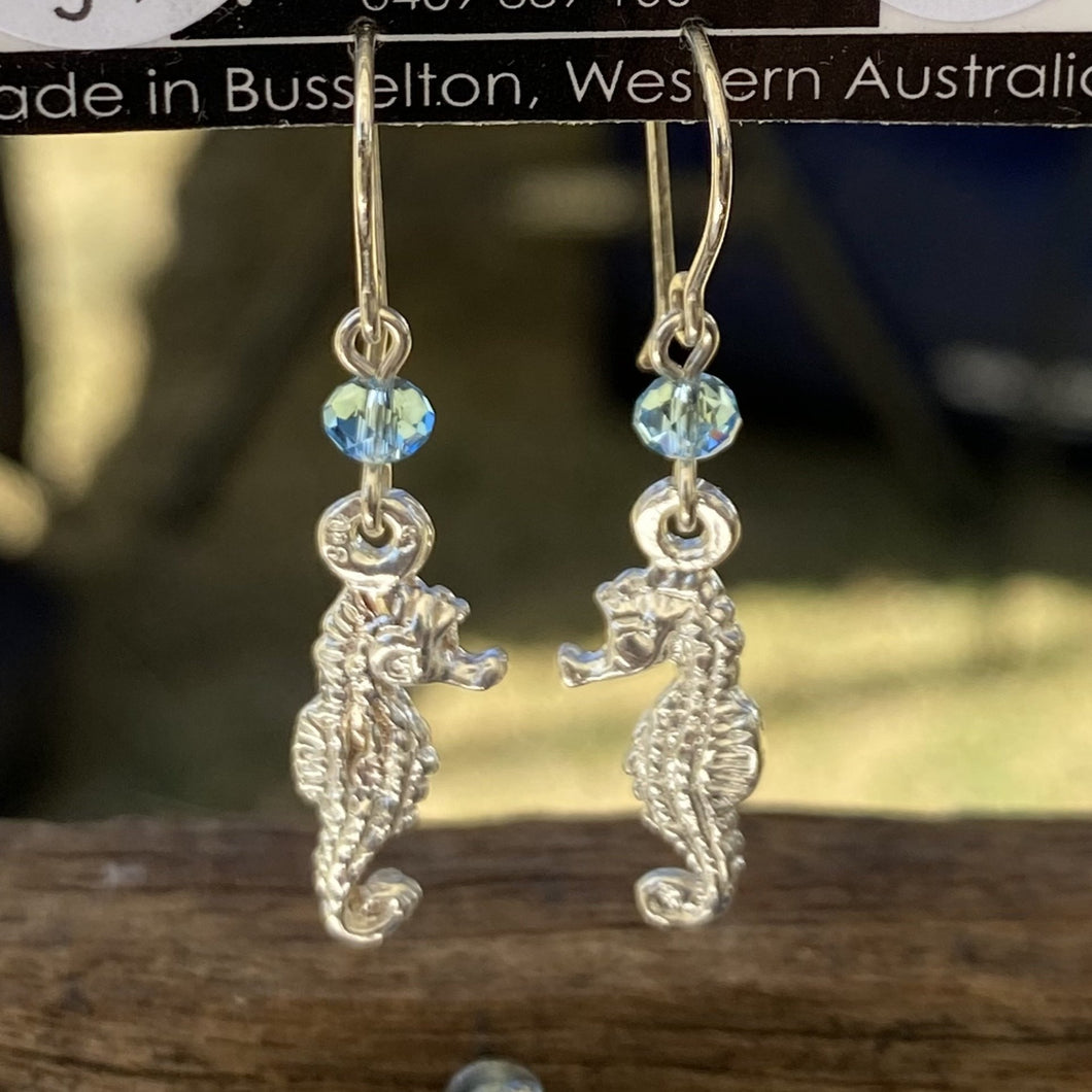 Seahorse Sterling Silver Charm Earrings