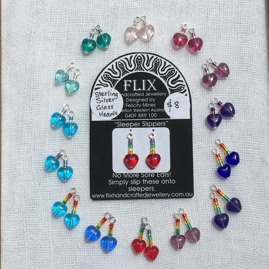 6mm Glass Hearts and Rainbow 'Sleeper Slipper' Drops