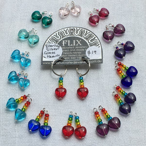 8mm Glass Hearts and Rainbow 'Sleeper Slippers'