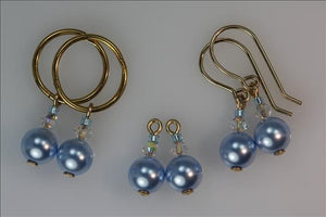6mm Swarovski Pearl with crystal 'Sleeper Slippers' Drops