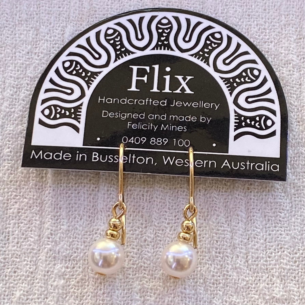 6mm Round Swarovski Crystal Pearl Earrings