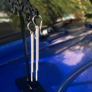 Sterling Silver Chain Tassels Earrings 543