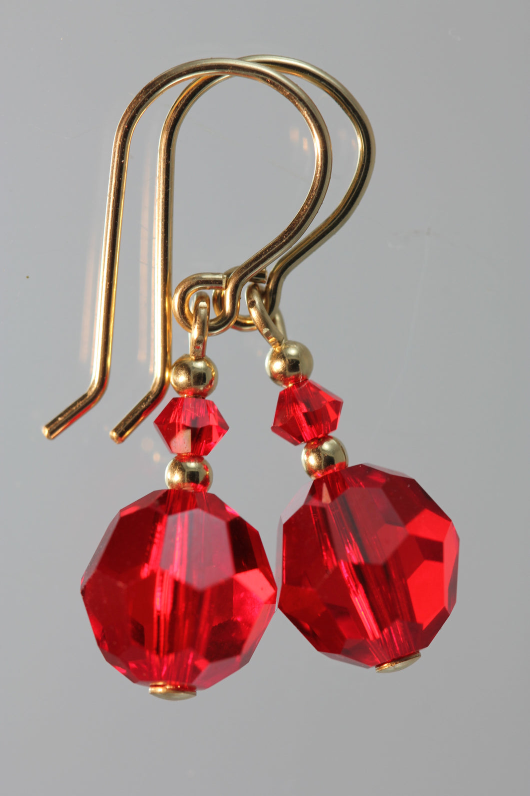 Red 8mm Round Swarovski Crystal Earrings
