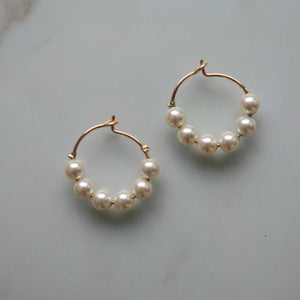 SIX PEARL HOOPS