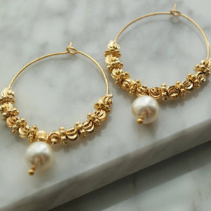 GOLD PEARL EARRINGS - AALIA Jewellery