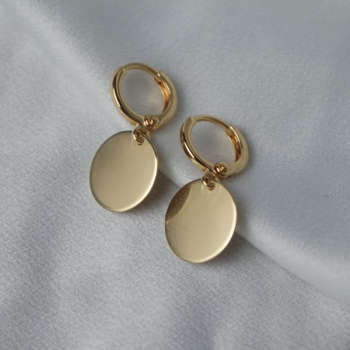 GOLD DISC HOOPS - AALIA Jewellery