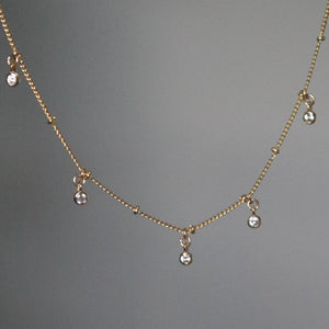 BEAD CHAIN CLEAR STONE CHOKER