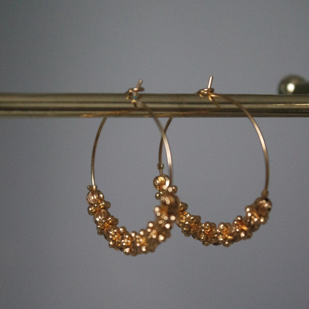 GOLD BEADED HOOPS