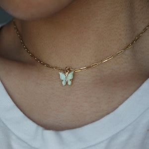 MINT BUTTERFLY CHOKER NECKLACE