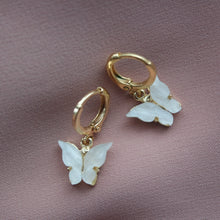 Load image into Gallery viewer, PEARL BUTTERFLY HUGGIE EARRINGS