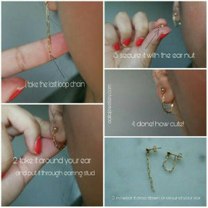 2 IN 1 CHAIN STUDS - AALIA Jewellery