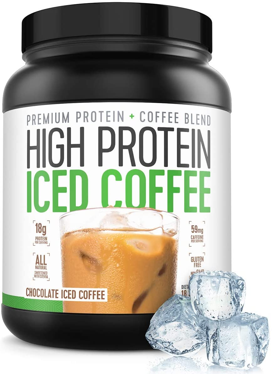 Protein Coffee Iced Coffee, High Protein Coffee, Protein Coffee, Keto Friendly, 18g of Protein, 2g Carbs, All Natural (18 Servings, Chocolate Iced Coffee)