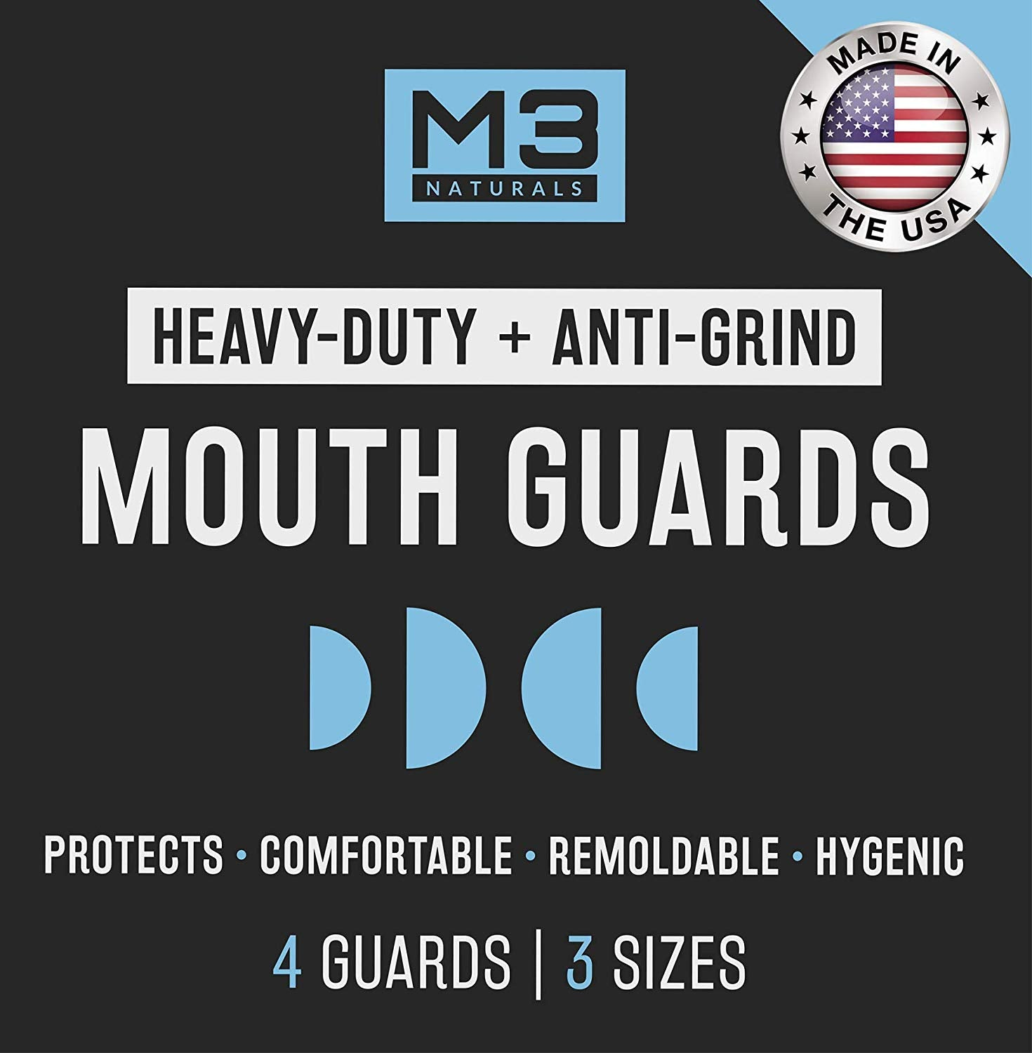 M3 Naturals Heavy Duty Mouth Guards for Teeth Grinding Clenching Bruxism Moldable Trimmable Retainer for Bite, Sleep, Sport Athletic, Mouthguard. Nightguard BPA Free 4 Guards 3 Sizes