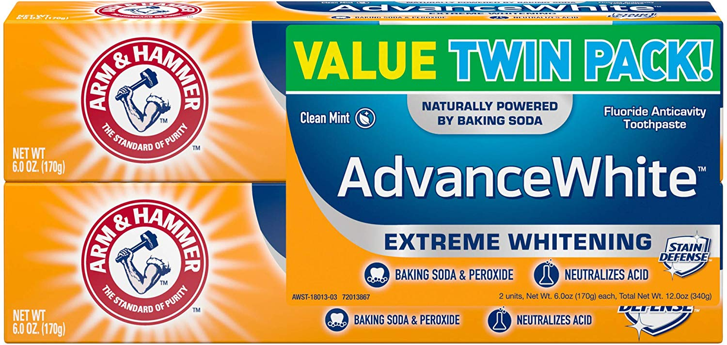 Arm & Hammer Advance White Extreme Whitening with Stain Defense, Fresh Mint, 6 oz Twin Pack (Packaging May Vary) (2 Pack)