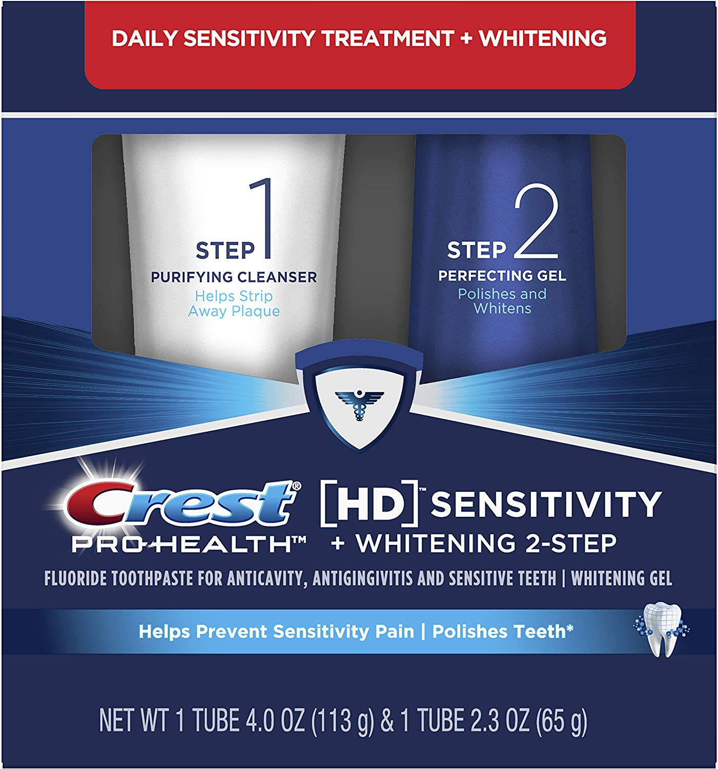 Crest Pro-Health HD Toothpaste, Teeth Whitening and Healthier Mouth via Daily Two-Step System (Basic)