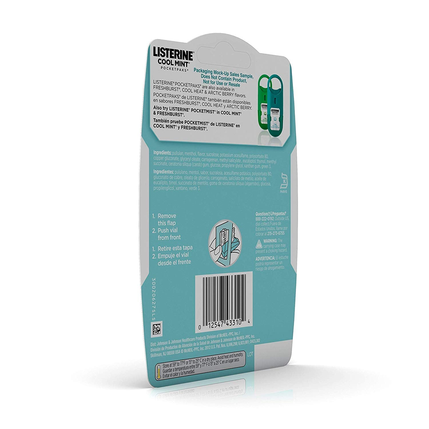 Listerine Cool Mint Pocketpaks Breath Strips Kills Bad Breath Germs, 24-Strip Pack (12 Pack)