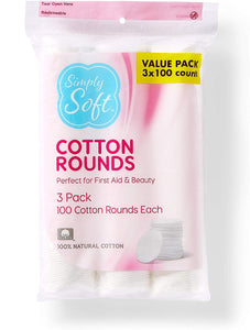 Simply Soft Cotton Rounds, 100% Cotton, Absorbent and Textured Cotton Pads are Lint Free, 300 Count