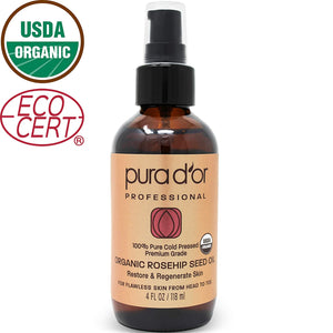 PURA D'OR Organic Rosehip Seed Oil (4 oz / 118mL) 100% Pure Cold Pressed, USDA Certified Organic, All Natural Anti-Aging Moisturizer Treatment for Face, Hair, Skin, Nails, Men-Women (Packaging Varies)