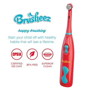 Brusheez Kid's Electric Toothbrush Set - Pepper the Dino - Includes Battery-Powered Toothbrush, 2 Brush Heads, Cute Animal Cover, Sand Timer, Rinse Cup & Storage Base