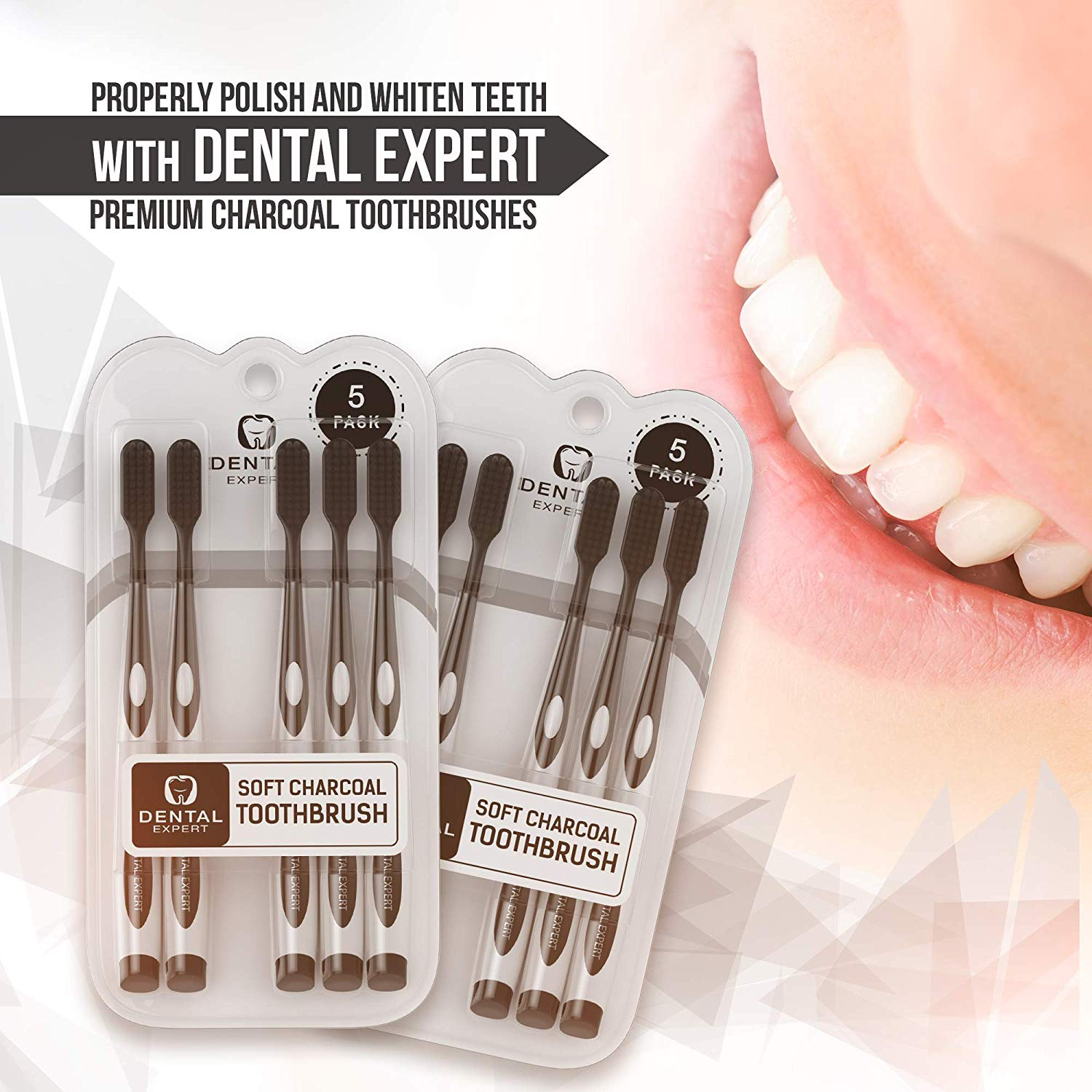 Dental Expert 5 Pack Charcoal Toothbrush [GENTLE SOFT] Slim Teeth Head Whitening Brush for Adults & Children - Ultra Soft Medium Tip Bristles (Black)