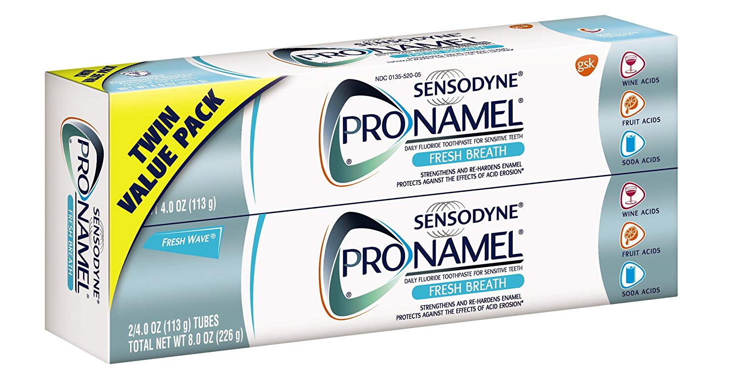Sensodyne Pronamel Fresh Breath Enamel Toothpaste for Sensitive Teeth, Fresh Wave - 4 Ounces (Pack of 2)