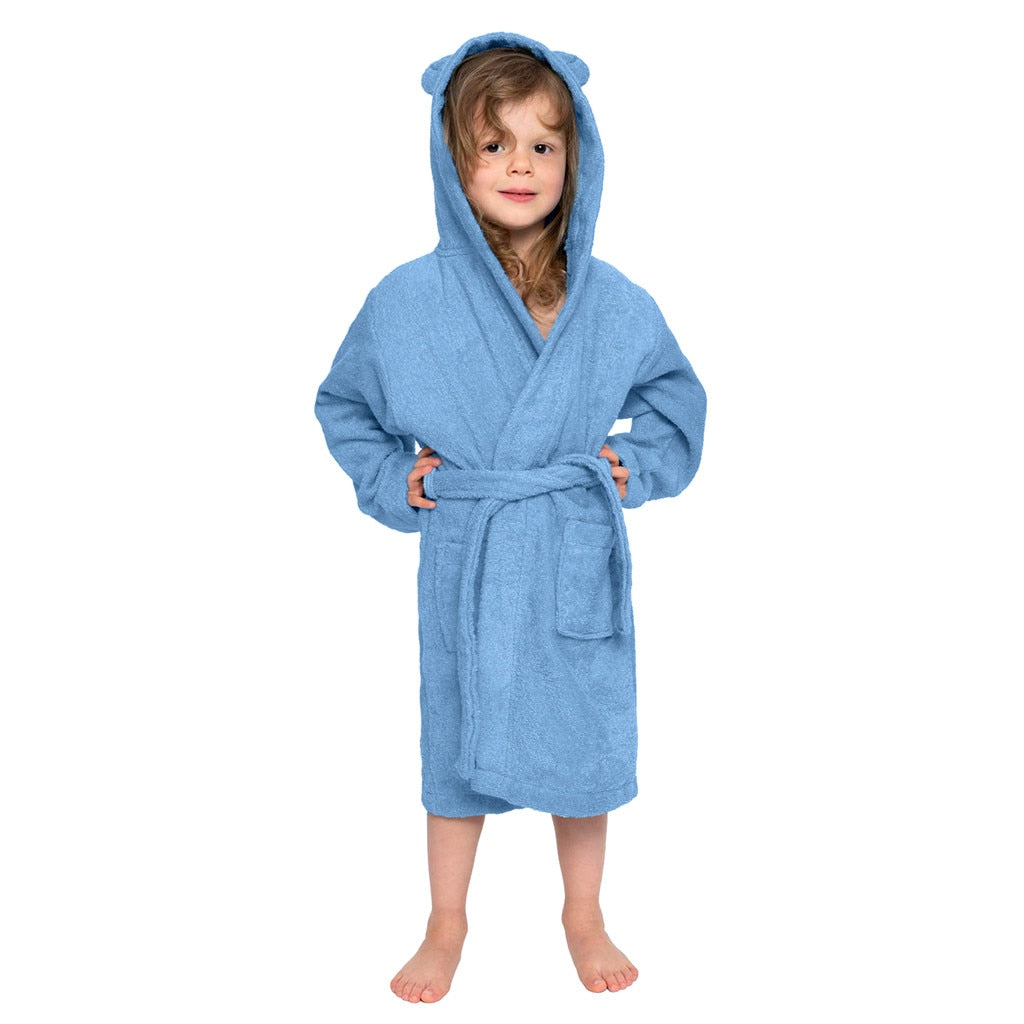 Fashion Kids Toddler Boys Girls Bath Robes Solid Colors Hooded Flannel Bathrobes With Belt Towel Night-Gown Sleepwear Pyjamas#g4