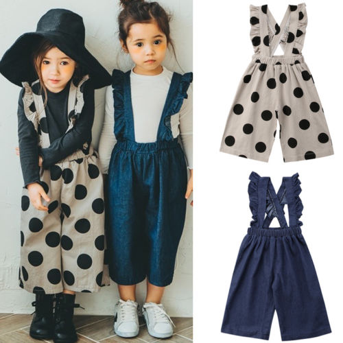 Ruffle Wide Leg Overalls Baby Bib Pants Trousers Romper Jumpsuits Children Girls Clothes 0-5T