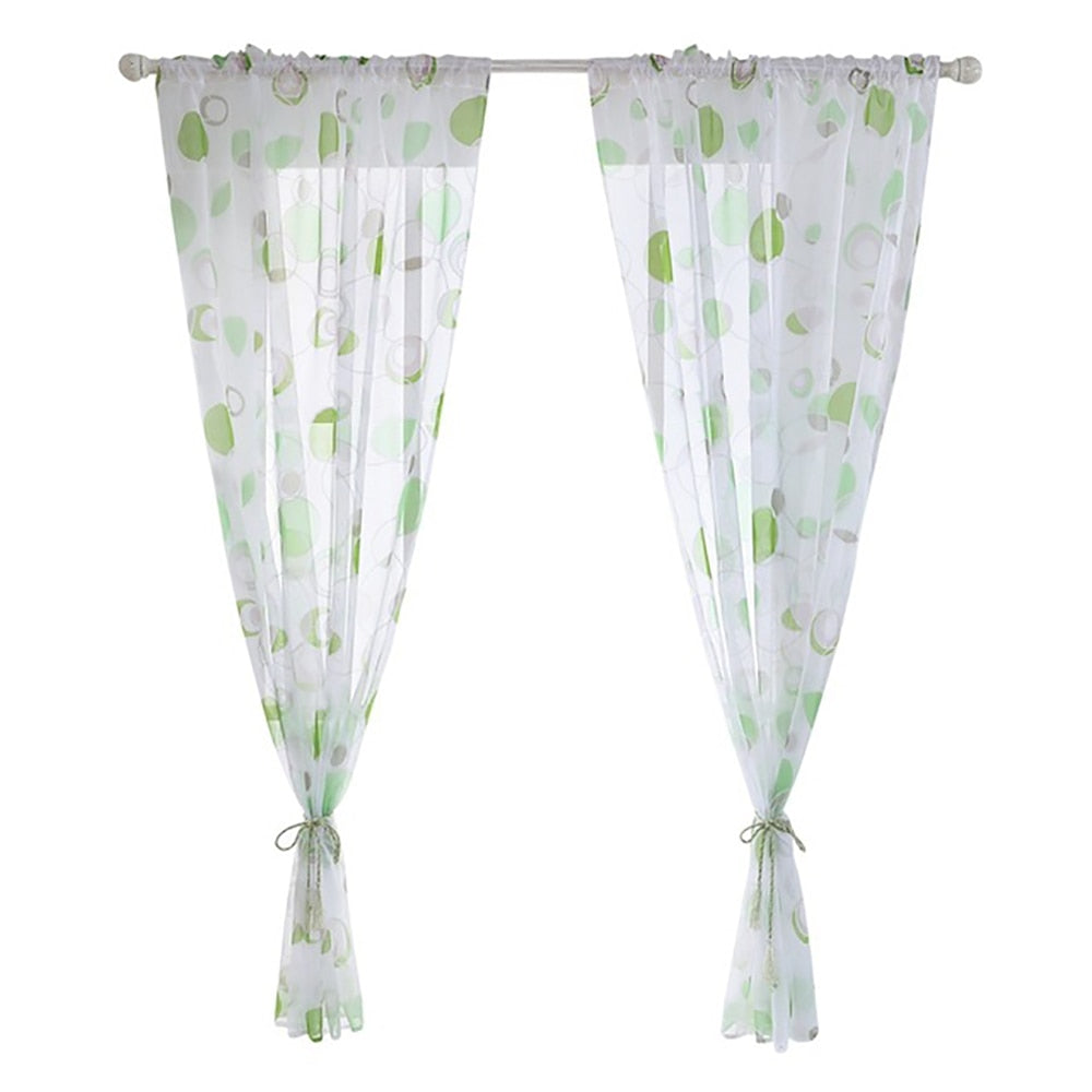 1PC Fit Living Room Sheer Voile Curtain Morden Printed Kitchen Tulle Curtain Decoration Modern Valance Window Treatments