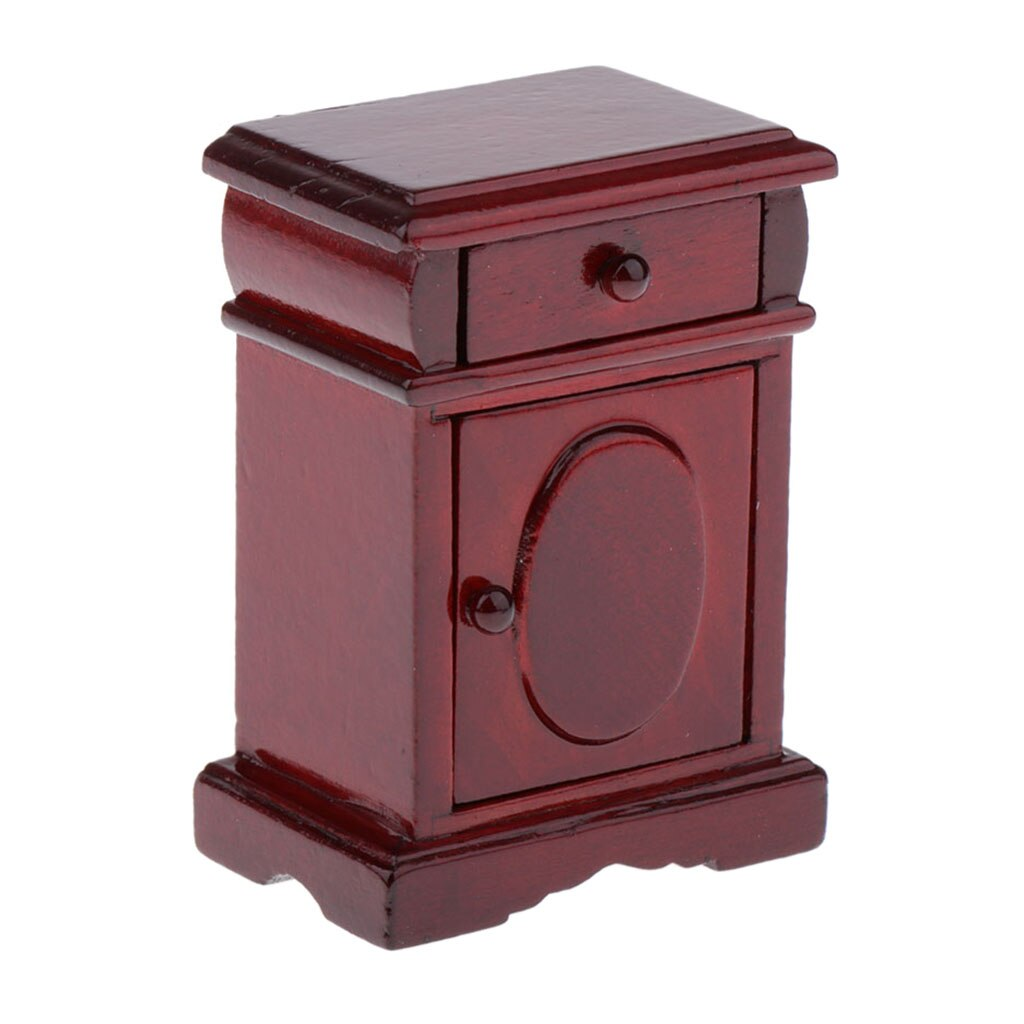 1:12 Dollhouse Furniture Accessories, Wooden Bedside Table Nightstand for Dolls House Bedroom Decor, Kids Pretend Play Toy