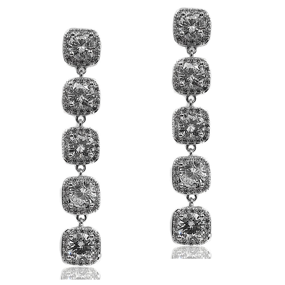 Delicate Style Five-Tiered Clear Halo Square Earrings Silver Tone Faceted Cut CZ Square Drop Earring Special Occasion Accessory