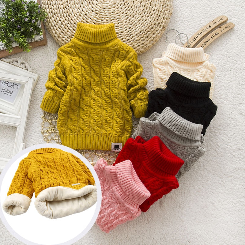 PHILOLOGY Plush inside pure color winter boy girl kid thick Knitted turtleneck shirts solid high collar pullover fluff sweater