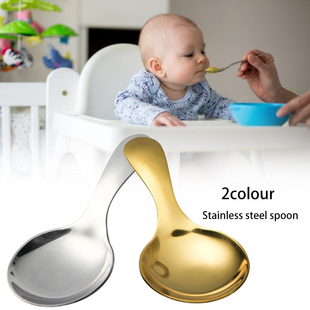 Gold Stainless Steel Cutlery Ice Cream Spoon Silver Portable Bright Baby Rice Spoon Household Daily Eating Tableware Necessities